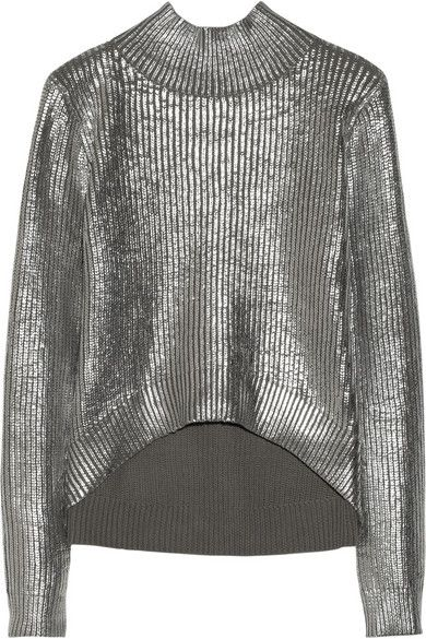 Sass and Bide   Sass and Bide Nobody's Joker Foil-Print Cotton Turtleneck Sweater