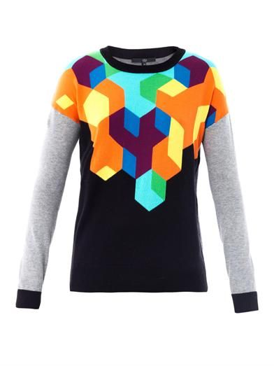 Tibi   Tibi Geometric Intarsia-Knit Sweater