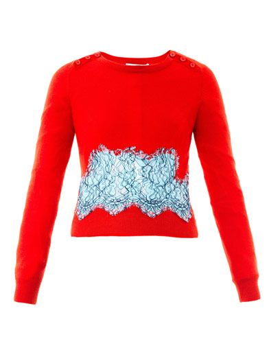 Carven  Carven Lace Insert Wool Sweater