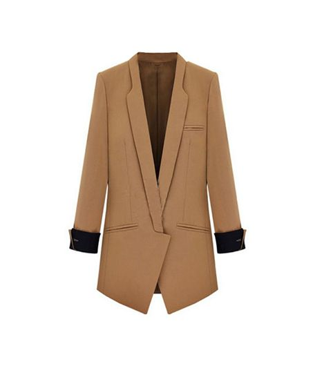 SheInside Camel Lapel Long Sleeve Slim Pockets Blazer