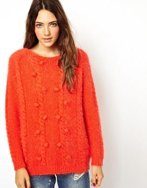 Asos  Asos Petite Fluffy Arran Sweater with Bobbles