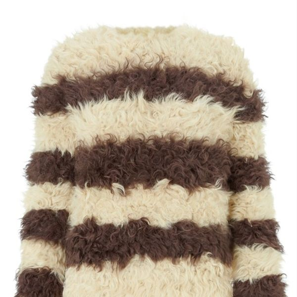 Thakoon  Thakoon Stone Striped Fur Jumper