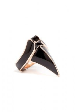 DJ by Dominic Jones   DJ by Dominic Jones Rose Gold Black Enamel Claw Ring