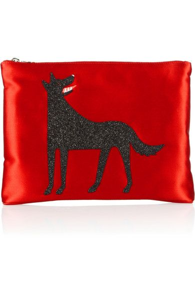 Charlotte Olympia  Charlotte Olympia Wolfie Suede-Embellished Satin Clutch