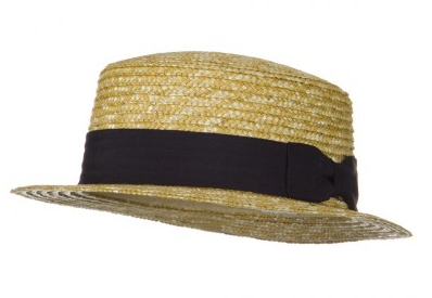 Boater Natural Straw Weave Hat
