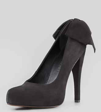 Vera Wang Jane Bow-Back Suede Pump