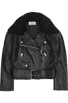 Acne  Mape Shearling-Collar Leather Biker Jacket
