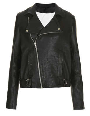 Topshop by Boutique  Premium Leather Biker Jacket