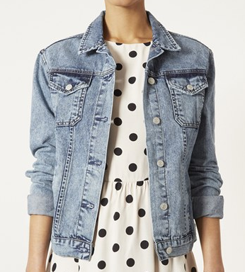Topshop Moto Sylvie Acid Wash Denim Jacket