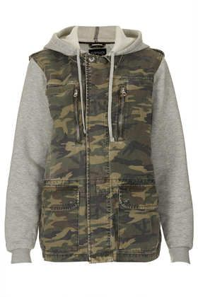 Topshop  Jersey Sleeve Camo Hooded Jacket