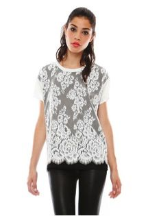 Pencey Pencey Blur Overlay Lace Top
