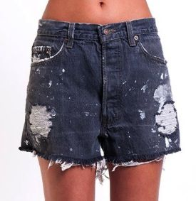 Denim Refinery  Denim Refinery The White Paint Smudge Levi's Black Shorts