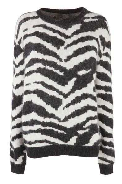Fashion Union  Beige Zebra Print Knitted Fluffy Jumper