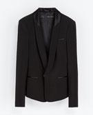 Zara  Zara Blazer With Tuxedo Collar