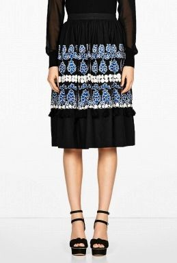 Suno  Suno Floral Embroidered Skirt