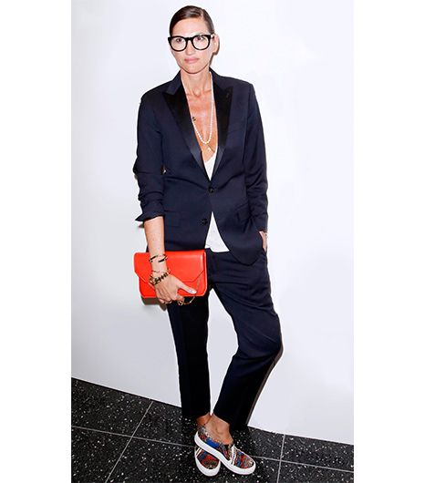 Jenna Lyons  At the Blue Jasmine premiere, the J.Crew president/creative director provided a case study in how to pull off a men's suit in the brand's Ludlow Tuxedo Jacket ($525) in...