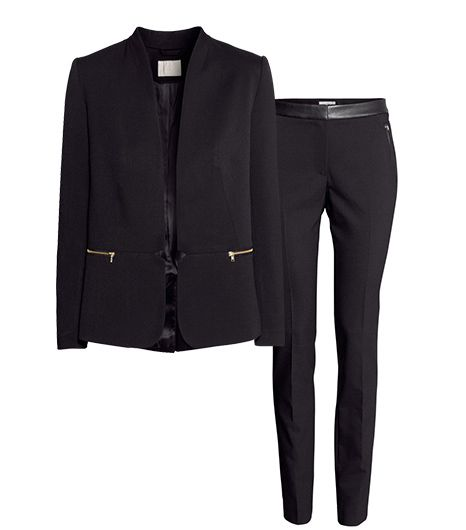 H&M Fitted Jacket ($50);H&M Slim-Fit Pants ($35).