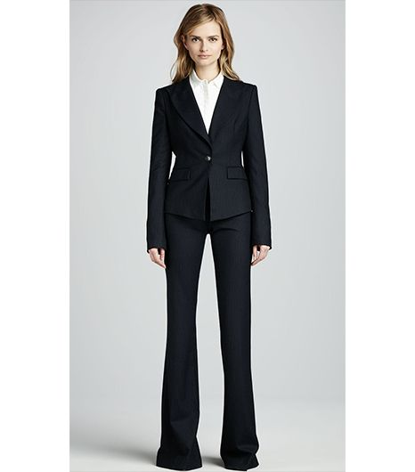Rachel Zoe Christina Fitted Pinstripe Jacket ($425); Rachel Zoe Rachel Flared Pinstripe Pants ($250).