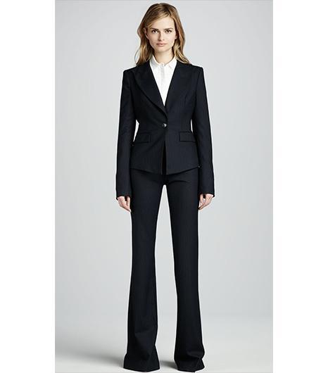 Rachel Zoe Christina Fitted Pinstripe Jacket ($425);Rachel Zoe Rachel Flared Pinstripe Pants ($250).