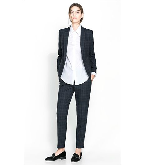 Zara Checked Blazer ($90); Zara Straight Cut Checked Trousers ($60).