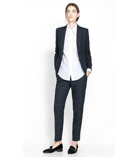 Zara Checked Blazer ($90);Zara Straight Cut Checked Trousers ($60).