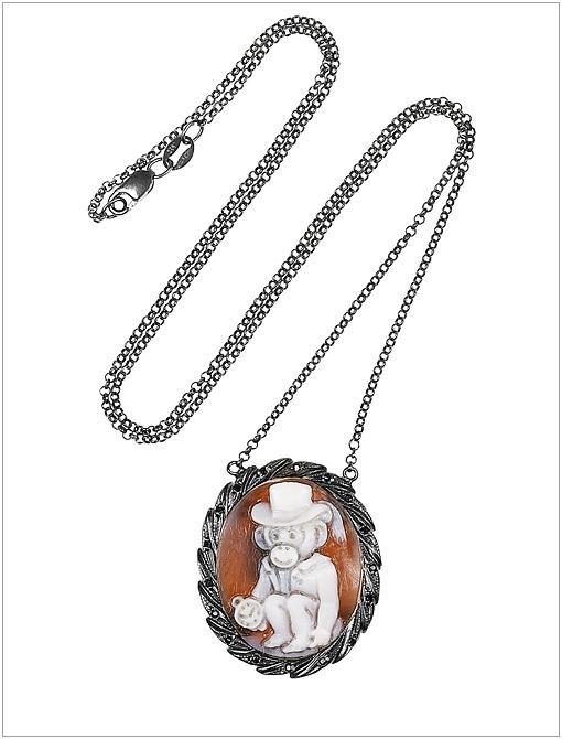 Oxidized-Silver, Sardonyx Shell and Diamond Monkey Cameo Necklace ($1220)