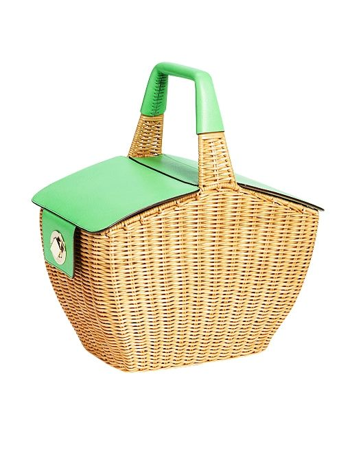 Linden Wicker Basket ($428) in Natural/Green