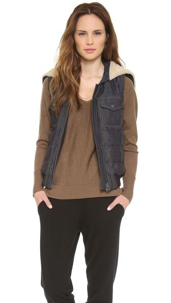 Sea  Denim & Shearling Hooded Vest