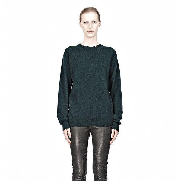T by Alexander Wang  Distressed Merino Blend Knit Pullover