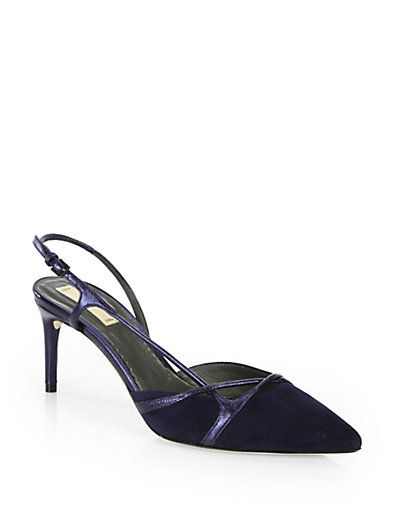 Reed Krakoff  Suede & Metallic Leather Slingback Pumps