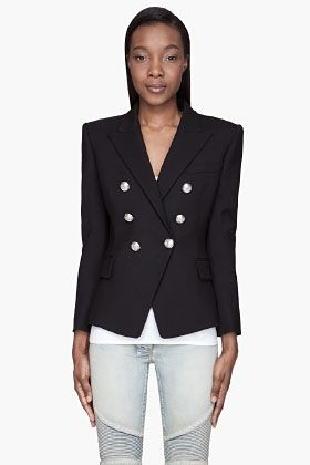 Balmain  Black Silver-Buttoned Double-Breasted Blazer