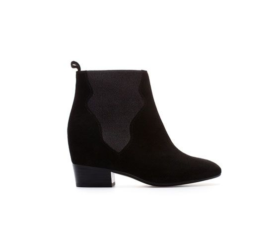 Zara  Ankle Boots With Interior Wedge and Elastic Panels