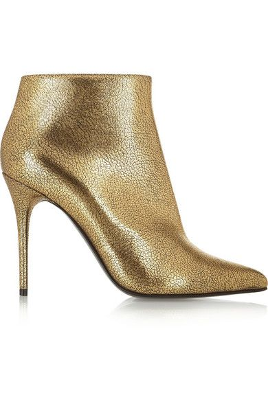 Alexander McQueen  Metallic Cracked-Leather Ankle Boots