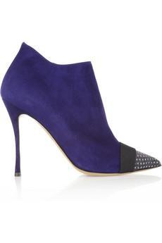 Nicholas Kirkwood  Elaphe-Trimmed Suede Ankle Boots