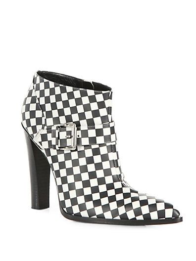 Altuzarra  Checkerboard Print Leather Ankle Boots