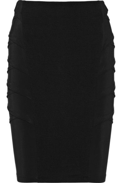 Donna Karan  Sateen-Paneled Jersey Pencil Skirt