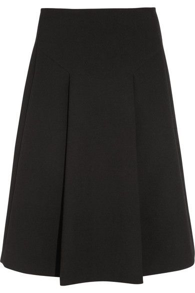 Marni  Pleated Wool-Crepe A-Line Skirt