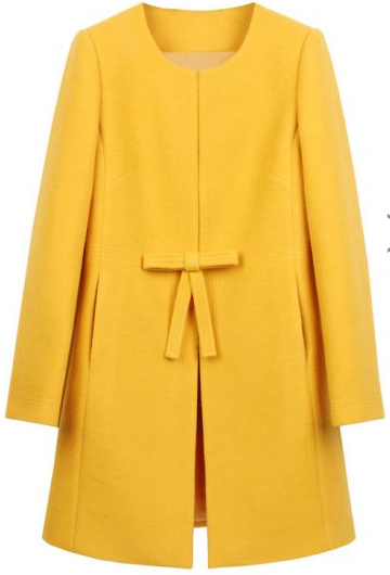 She Inside  Yellow Bow Knot H line Simple Wool Blend Coat