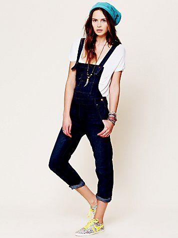 Free People  Free People Washed Denim Overall