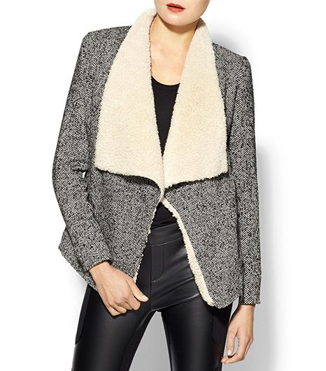 Tulle Open Wrap Coat With Sherpa