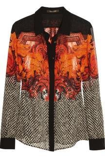 Roberto Cavalli  Printed Silk Georgette Shirt