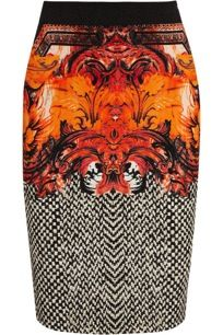Roberto Cavalli  Printed Stretch-Crepe Pencil Skirt