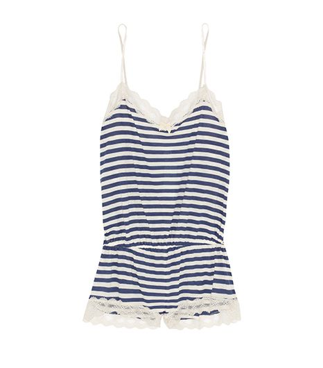Eberjey Maritime Striped Stretch-Jersey Playsuit