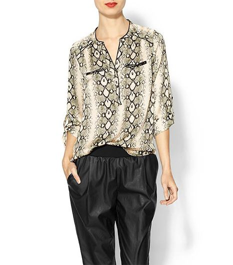 Daniel Rainn Printed Vegan Leather Trim Blouse
