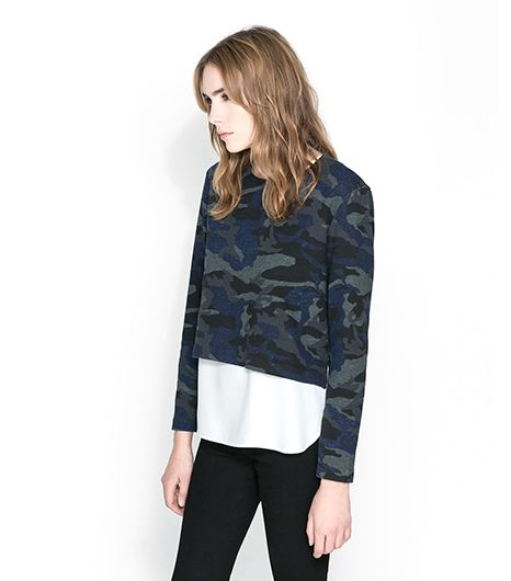 Zara Camouflage Velour Top
