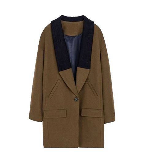 Choies Brown Wool Coat With Contrast Color Collar