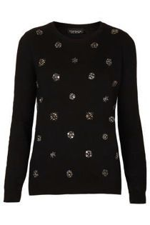Topshop  Knitted Flower Embellished Top