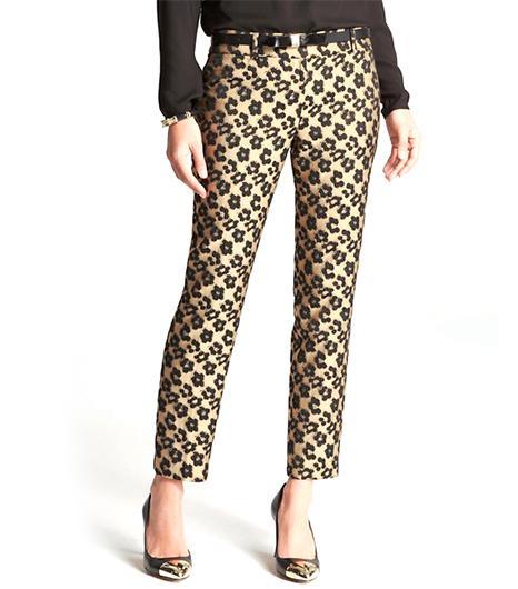 Ann Taylor Maven Leopard Jacquard Ankle Pants