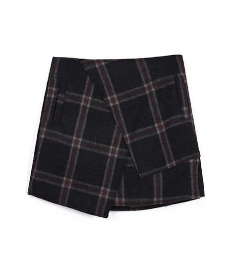 SheInside  Dark Grey Plaid Asymmetric Wool-Blend Skirt