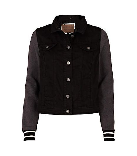 River Island Black Jersey Sleeve Hooded Denim Jacket